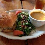 Chicken salad sandwich, salad and delicious pumpkin soup!