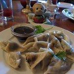 Pelmini with stuffed mushroom and mushroom sauce