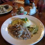Beef stroganoff with mashed potato