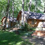 Wood cabins are grouped together as are the tent cabins.