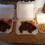 Kalbi ribs, BBQ chicken, BBQ beef and pot stickers