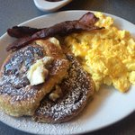 Mr Sunshine (cinnamon roll french toast. I asked for well done bacon & it was perfect!)
