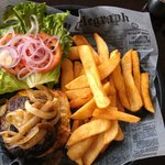 Inside-Out Burger with Texas fries.
