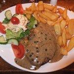 Sirloin Steak with peppercorn sauce.