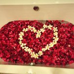 Bath tub filled with fresh flowers picked by the Disini staff