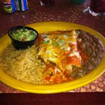 Beef & Chicken Enchilada / Rice / refried beans side was guacamole.