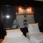 twin beds with wall mural