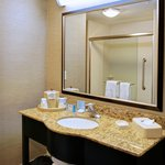 Guest bathroom at the Hampton Inn Crystal River