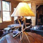 more living room, rustic lamp.