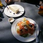 Smoked fish salad and cheesecake