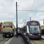 Bus 369 and Tram 013 at Fleetwood Ferry