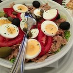 """Maslina"" salad with tuna, eggs, olives, and capers"