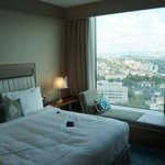 Bed, and view from the room