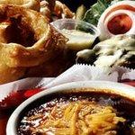 Burger, Onion Rings & Chili