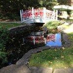 Oriental footbridge in gardens behind Glen Burnie