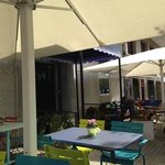 the nice terrace of the restaurant/bar