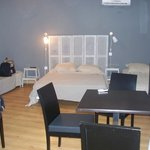 This is about 1/2 the living area, showing the three beds, table and chairs.  There was also a c