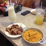Piña Colada, Roast pork, Rice with pigeon peas