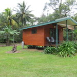 Cabins set in amongst tropical fruit orchard with views of Mt Sorrow