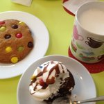 milk, whoppie and m&m cookie