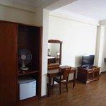 Closet, desk and TV