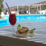 A poolside snack (fresh watermelon juice & sandwich)