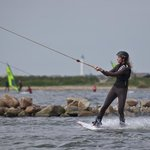 Wakeboarder riding the cable in Hvide Sande
