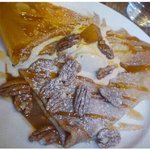 pumpkin crepe with pecans, syrup, spices and peacans! yummy!