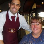 My sister with our great waiter Balazs
