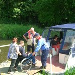 Our pontoon style boat, Francis J, can accommodate two wheelchair passengers at Sudbury