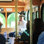 Tour guide/inside the trolley.