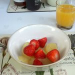 Fresh strawberries with grapefruit and fresh orange to start