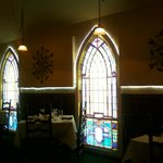 The stain glass windows in the dining room we were in. So pretty!