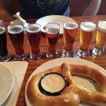 Beer sampler with a pretzel