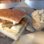 grilled chicken sandwich and orzo salad