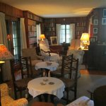 Sitting room set up with dropleaf tables for eating buffet