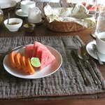 Fruit and french pressed coffee at breakfast in Wates Bangbau House