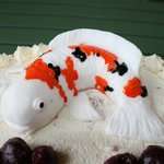Koi Carp on a birthday cake