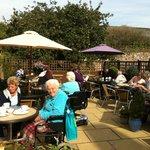 Tea garden in full summer swing. Wheelchair mecca!