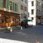 Shops/cafes in narrow streets
