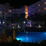 Night view of the pool area