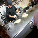hiroshima okonomiyaki being prepared...
