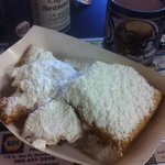 Fresh, HOT beignets- and, yes, it does require all that powdered sugar!
