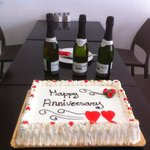 Cake and champagne provided by Reuben