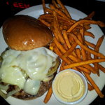 Prime Rib burger and sweet potato fries.