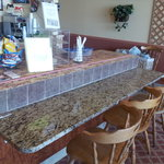 Imagine a counter seat with a granite counter top