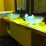 Pretty polished natural wood vanity