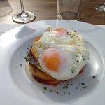 fry eggs wth potatoes and sobresada