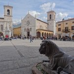 View of Piazza di San Benedetto and the lion guarding the entrance to the Castellina (inside loo