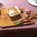 Plums in wine and scrambled pie dessert